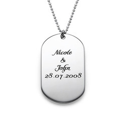 Personlig dog tag smykke i håndskriftstil i sølv produktbilde
