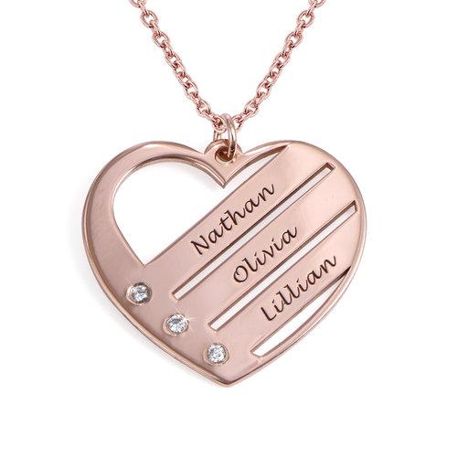 Diamant hjertesmykke med inngraverte navn i 18k rosegullbelegg produktbilde