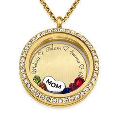 """Medaljong med navn - """"Til Mor eller Bestemor"""" i 18k gullforgyldt produktbilde"""