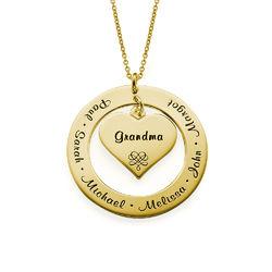 Bestemorsmykke /Mammasmykke med navn - gull-vermeil produktbilde