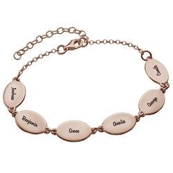 Rosegullbelagt mamma armbånd med barns navn - Ovalt design produktbilde