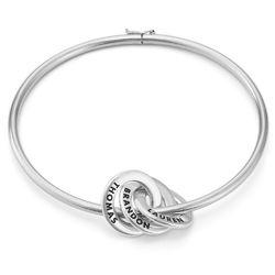 Russisk bangle-armbånd med runde charms i sølv produktbilde