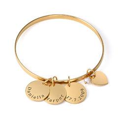 Bangle armring med personlige anheng med navn i gullbelegg product photo