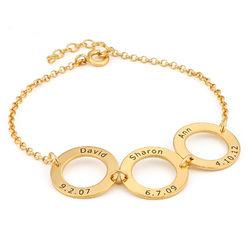 Graveret armbånd med 3 sirkel anheng i gullforgylt product photo