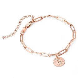 Odeion lenke armbånd/ankelkjede med initial i 18k rosegullforgylt sølv produktbilde