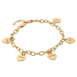 Personlig armbånd med hjertecharms i gull vermeil produktbilde