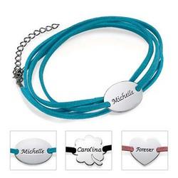 Semsket wrap-armbånd med personalisert anheng produktbilde
