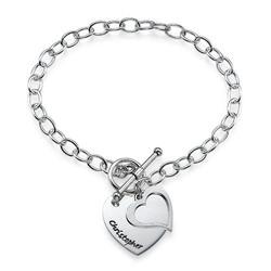 Dobbelt hjertearmbånd i sølv produktbilde