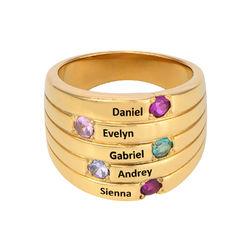 Mammaring med fem steiner i gullbelegg product photo