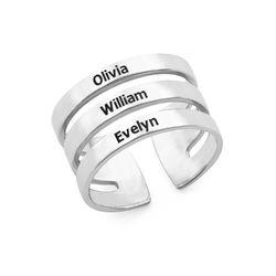 Tre ringer med navn i sølv product photo