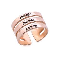 Tre ringer med navn i rosegullbelegg product photo