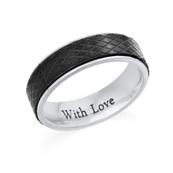 Ring for menn i rustfritt stål – svart og sølv product photo