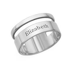 Asymmetrisk navne ring i sølv product photo