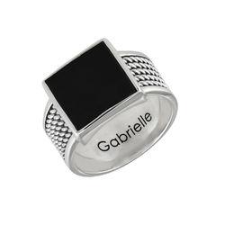 Personlig tilpasset firkantet svart onyx stein ring til menn med product photo