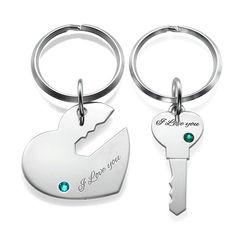 Hjerte- og nøkkelring for par product photo