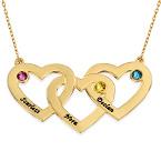 10K gull flettet hjertesmykke med månedssteiner