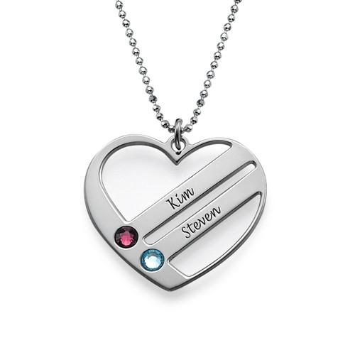 Månedsstein hjertesmykke med inngraverte navn - 1