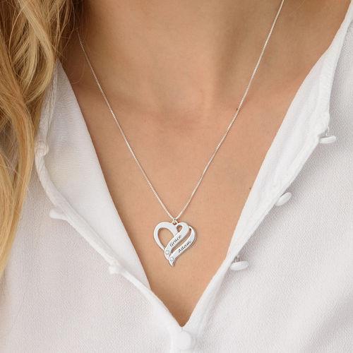 Diamanthalskjede med to hjerter i sterlingsølv - 2