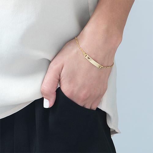 Forgylt ID-armbånd med hjerte for jenter - 2