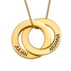 Forgylt russisk ring halskjede med 2 ringer