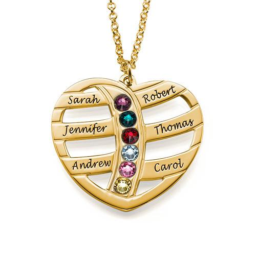 Gave til mor - Gravert gullhjerte halskjede med månedssteiner