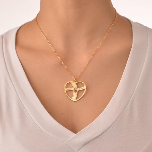Gave til mor - Gravert gullhjerte halskjede med månedssteiner - 4