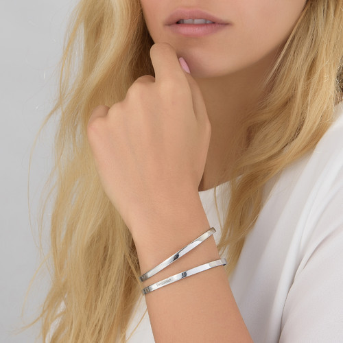 Gravert armbånd i sølv - 1