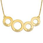 Gravert halskjede med sirkler i forgylt gull