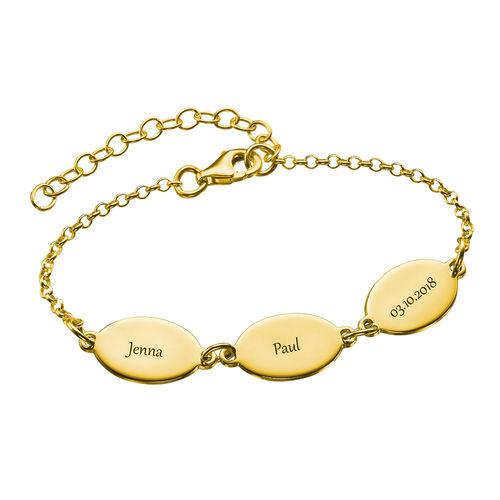 Gullbelagt mamma armbånd med barns navn - Ovalt design