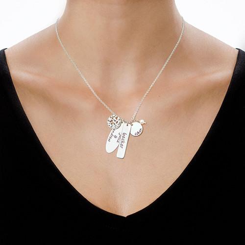 Halskjede i sølv med personlig familietre - 1
