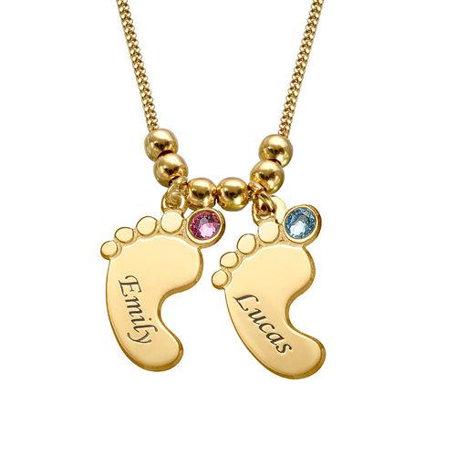 Mammasmykke – halskjede med babyføtter i gullbelegg - 2