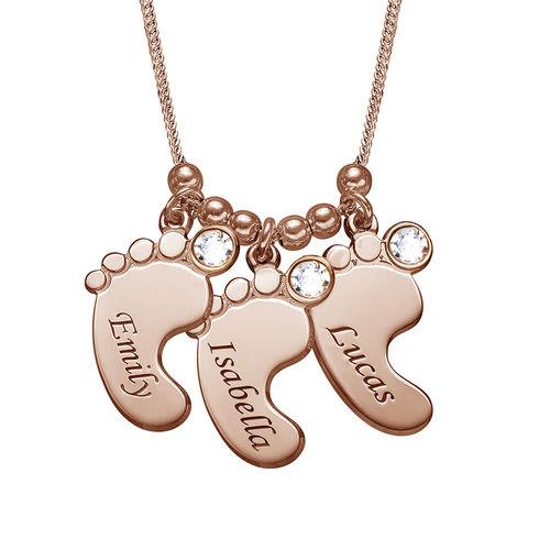 Mammasmykke – halskjede med babyføtter i rosegullbelegg - 1