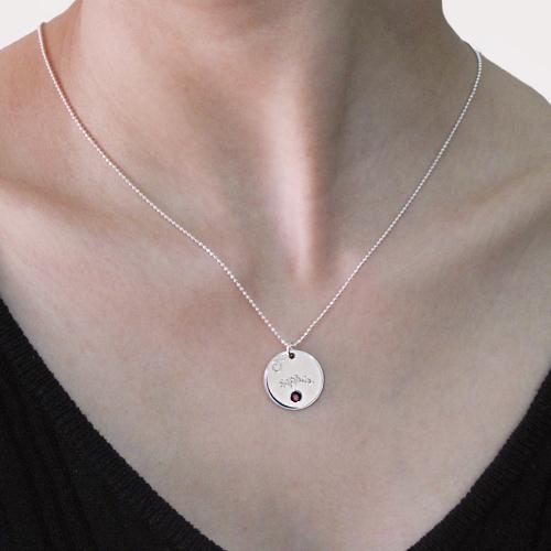 Halssmykke for mødre med gravert skive og månedsstein - 2
