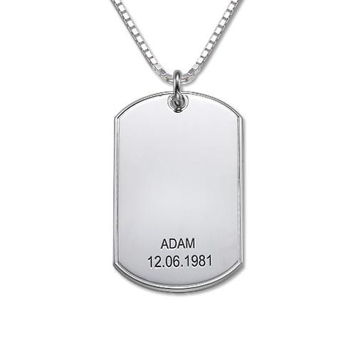 Halssmykke i sølv med personlig dog tag