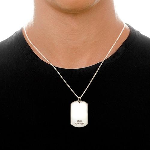 Halssmykke i sølv med personlig dog tag - 1