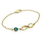 Infinity-armbånd med månedsstein i gullbelegg