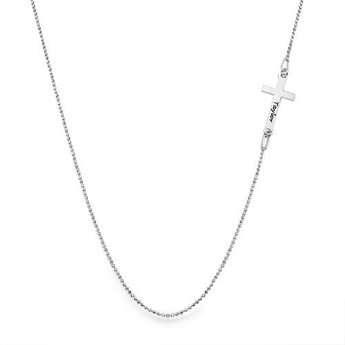 Halssmykke med gravert sidekors i sølv