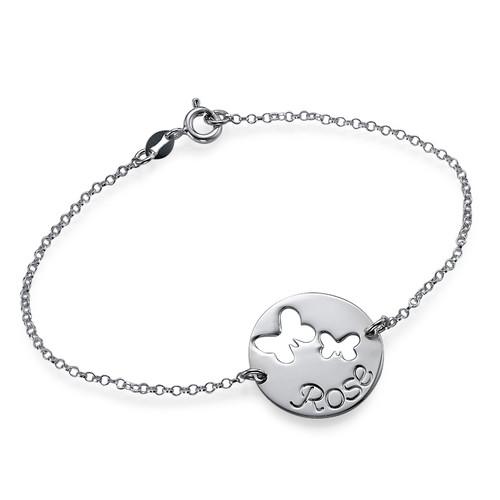 Utskåret sommerfugl armbånd i sølv