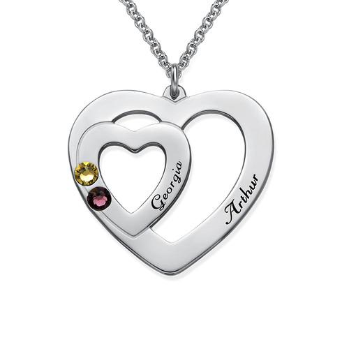 Lite hjerte i hjerte smykke med månedssteiner