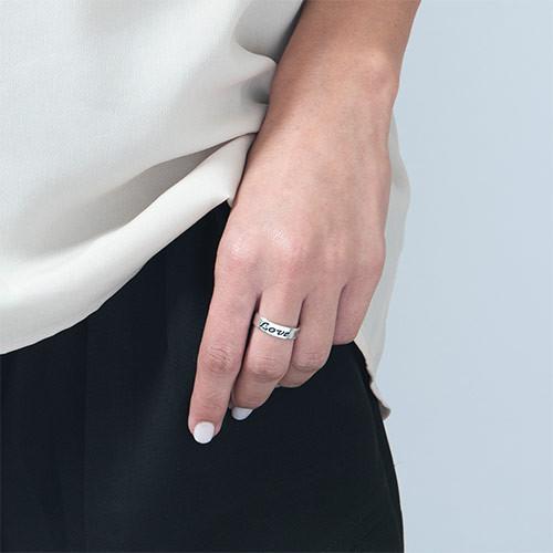 Løftering – avrundet og polert ring i sterlingsølv med gravering i skjønnskrift - 1