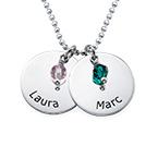 Sølvsmykke for mødre, personlig inngraverte sølvplater med månedssten
