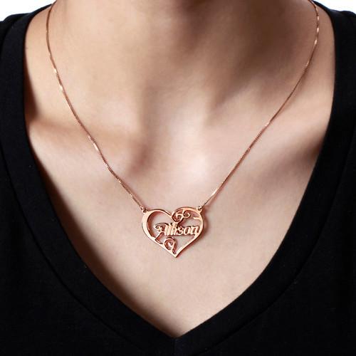 Navnesmykke med personlig hjerte - 3
