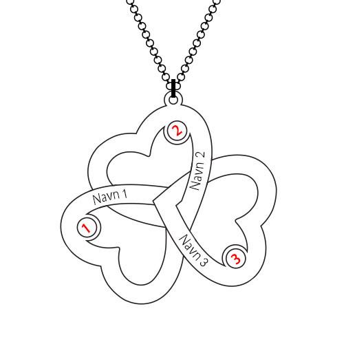 Personlig Trippel  halskjede med hjerte - 3