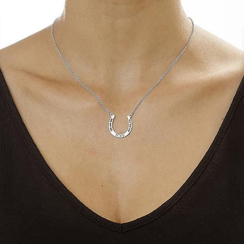 Personlig halssmykke i sølv med hestesko - 1