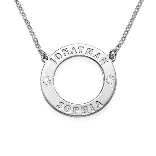 Personlig karma-smykke i sølv med Swarovski