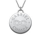Rundt anheng med gravert infinity symbol