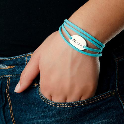 Semsket wrap-armbånd med personalisert anheng - 4