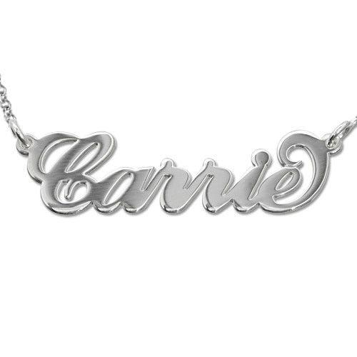 Carrie-stil navnesmykke i sølv