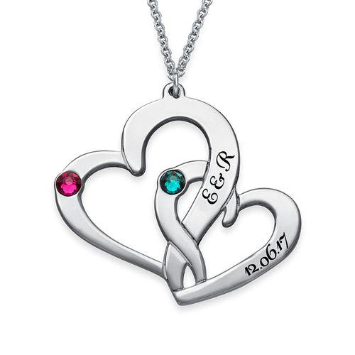 To hjerter flettet sammen med gravering - 1