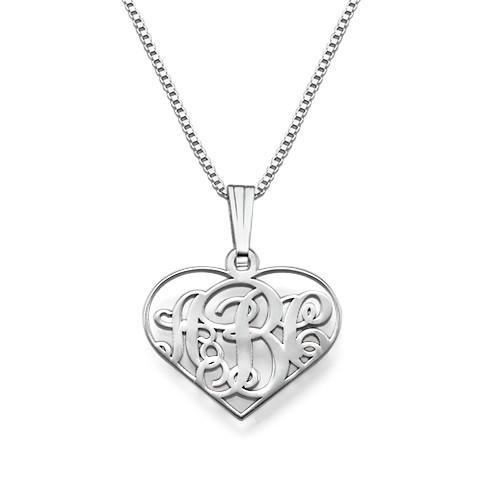XS halssmykke i sølv med hjertemonogram